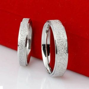 Band Ring Frosted Stainless Steel Silver Size 11